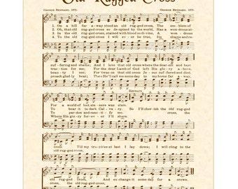 OLD RUGGED CROSS   Custom Christian Home Decor   Vintage Verses Sheet Music    Antique Hymn