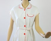 Vintage 50s House Day Dress White Cotton w Red Buttons & Trim  Bust 38