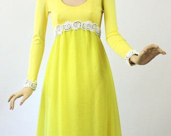 Vintage 60s Lillie Rubin Formal Dress Long Yellow Chiffon w Milk Glass Rhinestone Beading Bust 36