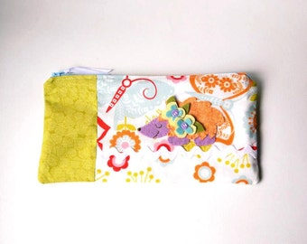 """Zipper Pouch, 9.25 x 4.75"""" in white, green, blue, orange, red, pink and purple butterfly Fabric with Handmade Felt Hedgehog, Pencil Case"""