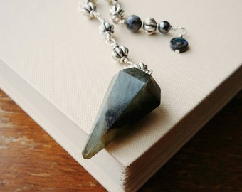Labradorite Pendulum with Wire Wrapped Beaded Chain . Labradorite Stone Dowsing Pendulum. Metaphysical Labradorite Stone Dowsing Pendulum