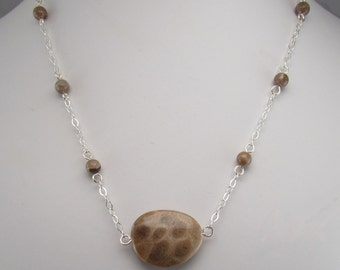 Petoskey stone and sterling silver necklace 0096