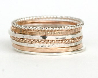 Set of 7 - Skinny Stack Rings - Sterling Silver and gold fill mixed metals - 7 texture set, 2 tone, 2 metals, 2 color ring set