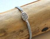 Arm Candy - Platinum Druzy Bracelet, Macrame Bracelet, Friendship Bracelet