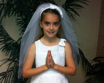 First Communion Headband Veil, Holy Communion Veil - THE MOLLY - Satin Classic Bow