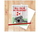Dog Valentine Card, Dog Card, Dog Note card, Valentines Day Card, Happy Valentines Day Card, Valentine Card Him, Valentine Card Her