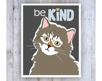 Childrens Wall Art, Classroom Decor, Cat Art, Motivational Art, Print for Kids, Be Kind Sign, Be Kind Art, Classroom Wall Art, Kitten Art