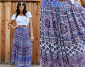 Vintage 80s Gauzy Rayon INDIAN Gypsy BOHO Festival Skirt