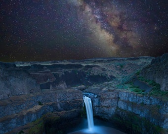 Palouse Falls Photo Landscape Waterfall Photo Falls Milky Way Night Stars Desert Print Wall Art Home Decor nat154