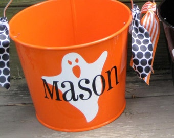 Personalized Orange 5QT Halloween Trick or Treating Bucket with Handles/Ghost Design with Name/ Many Designs to Choose From