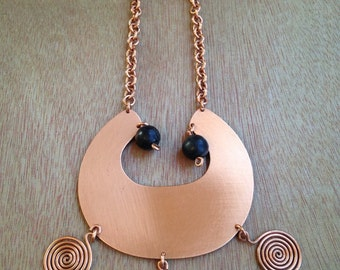 CHUNKY 60's/70's COPPER CRESCENT Necklace / Boho Statement Nexklace / Groovy Copper Necklace