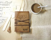 personalized leather journal, custom monogram, vintage style, travel notebook, brown journal