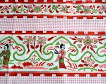 Vintage Fabric - Geisha on Pink Gingham - 35 x 36 Border Curtain Apron Fabric