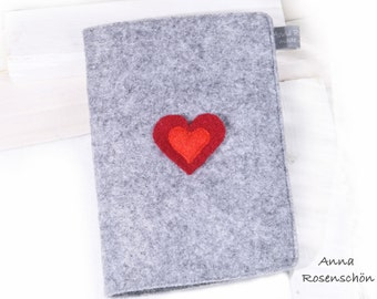 grey mother pass red heart orange heart wool felt
