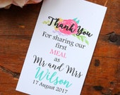 Thank you for sharing our meal - Mini Wedding cards for guests - Personalized - DIY Printables