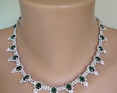 Emerald Green Necklace, Green Rhinestone, 1980s, Vintage Jewelry, Bridal Necklace, Wedding Jewelry, Moss Green, Diamante Choker, Prom, Party