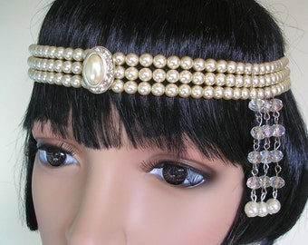 Gatsby Headpiece, Pearl Headband, Art Deco Forehead Band, Pearl Headdress, Gatsby Bridal Jewelry, Head Chain, 1920s Flapper, Gatsby Wedding