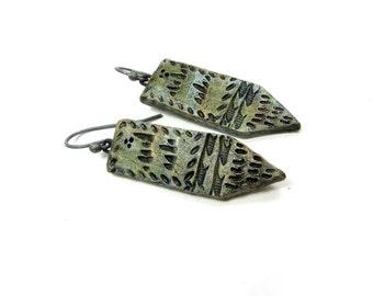 Green Copper Tie Panel Earrings - Bohemian Artisan Ceramic Earrings No. 005