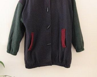 90's Color Block Wool Coat