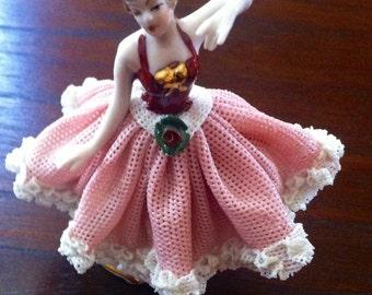 Vintage Capo Di Monte Porcelain Lace Dancing Lady, Vintage Capo Di Monte Dresden Style Dancer, Dresden Lace Ballerina, Porcelain**USA ONLY**