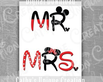 INSTANT DIGITAL DOWNLOAD Mr and Mrs Mickey and Minnie Mouse Disneyland Disney World Printable Letter A4