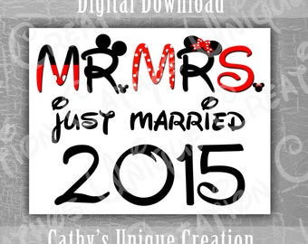 Mr and Mrs Mickey and Minnie Mouse Just Married 2015 Disneyland Disney World Printable Letter INSTANT DIGITAL DOWNLOAD