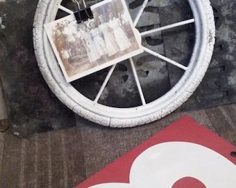 Vintage Display Board. Vintage Wheel. Vintage Photo. Vintage Industrial Home Decor. Australian Pram Wheel. Wall Piece. Duchamp Decor.