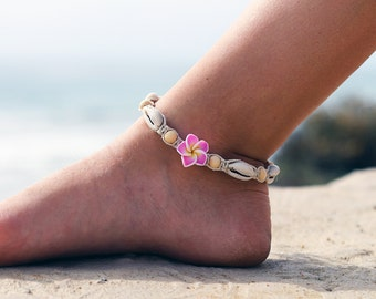Cowrie Shell Anklet, Beach Anklet, Wood Beads, Macrame Anklet, Hemp Anklets