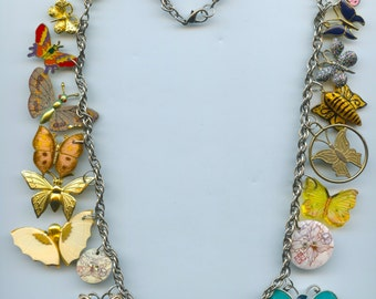 ButterflyTheme Charm Necklace Made With Collectibles and Recycled Items