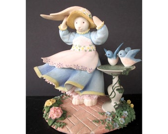 Bunny Rabbit Figurine With Blue Birds * BLOSSOM'S BREEZY DAY * Lynn Bywaters * Vintage Lenox