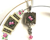 Broken china jewelry pendant necklace antique art deco pink roses on black with Swarovski crystals