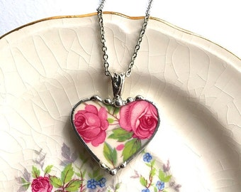 Broken china jewelry, heart pendant necklace, antique pink cottage roses, broken china jewelry, recycled china