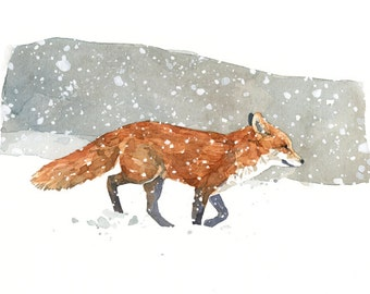 Red Fox in snow watercolor painting 5x7 print