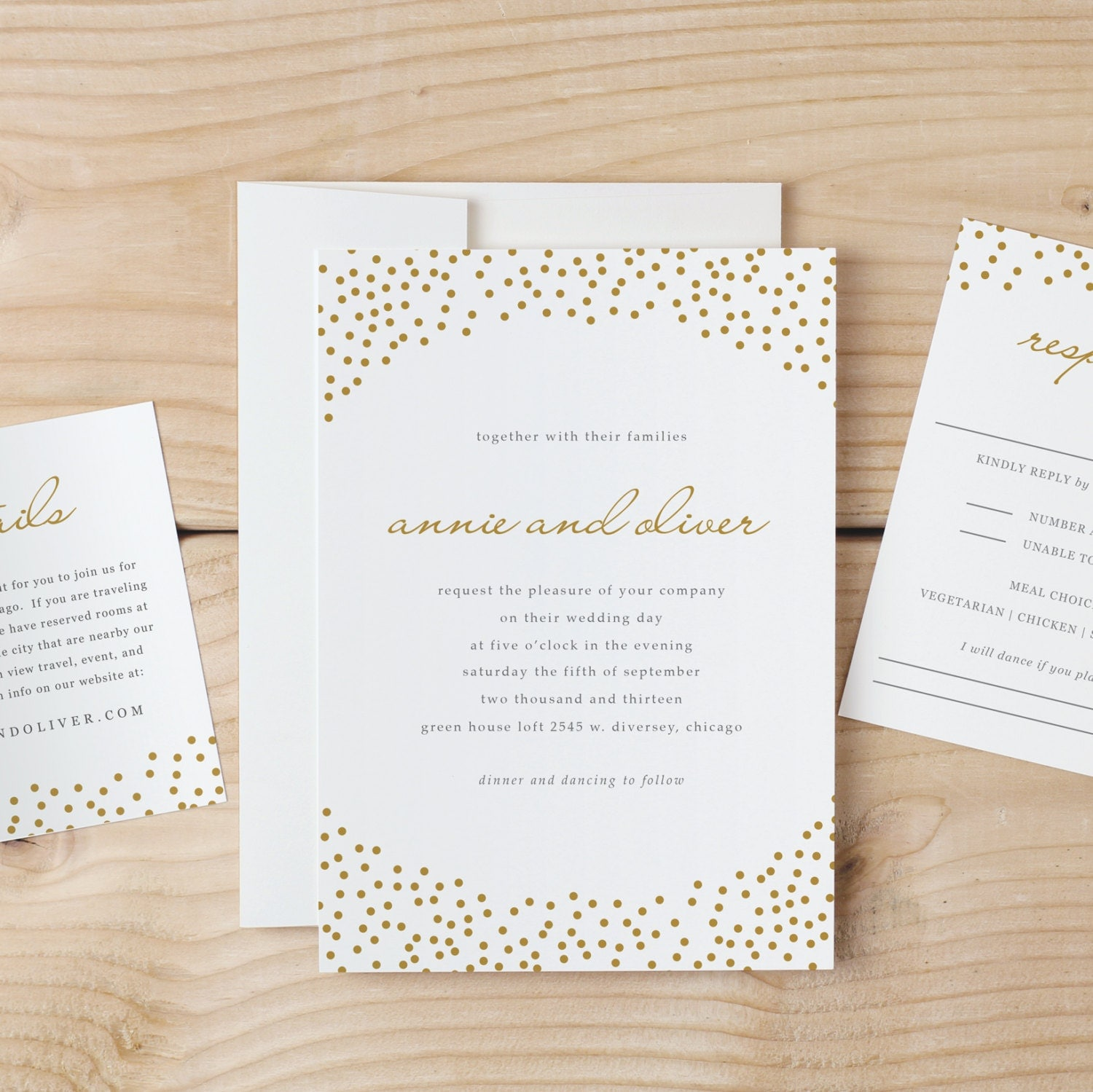 Wedding Invitation Template Download - Gold Dots - Word or Pages ...