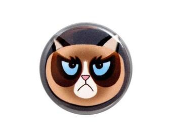 "Grumpy Cat Button, Pinback Button, Small Badge, Cartoon Grumpy Cat Badge, Nerd Button, 1.25"" Button - B3-1"