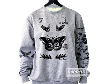 Felpa Tatuaggi Harry Style Tattoos Sweatshirt Updated Tattoos Crew Neck Shirt – Size S M L XL