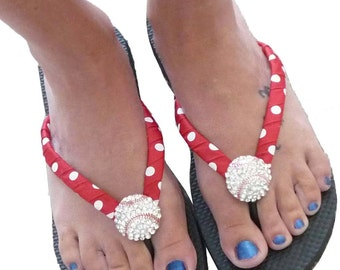 Baseball Flip Flops - bling- red white polka/ all colors/ all sizes