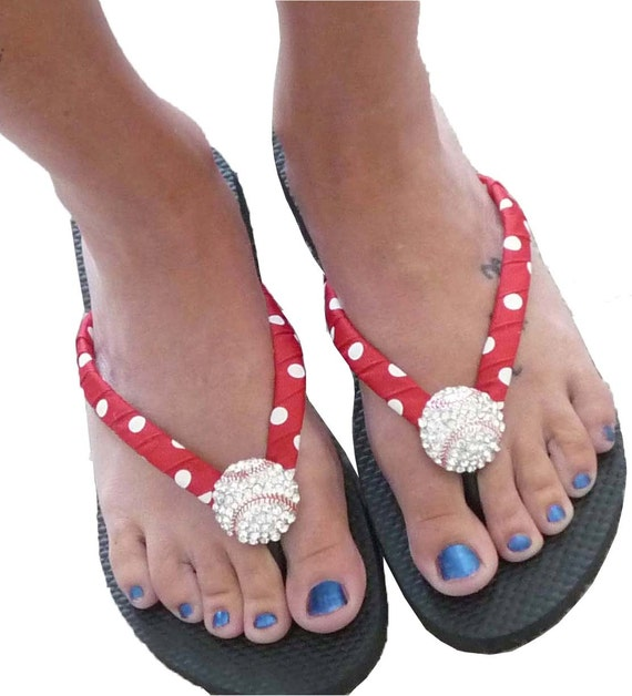Baseball Flip Flops - bling- red white polka/ all colors/ all sizes