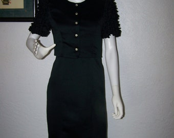 1980s Black Cocktail Dress with Jacket Size 3 by Opening Night Ruffled Sleeves Rhinestones 2 PC Set Party Formal Sexy Womens Business Style