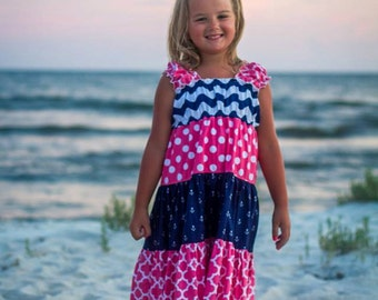 PDF Pattern Twirly Girly Tiered Skirt Boutique Dress Juvie Moon  E Book Tutorial  Liddy  DIY  Size 18 months to 12 years