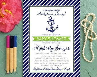 Anchors Away Baby Boy is On the Way Nautical Themed Shower Invitation Navy White and Green Pirate Kids Birthday Party Invite