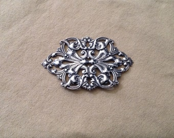Silver Plated Filigree Component