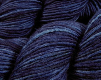 Hand Dyed Yarn - DK Weight Superwash Merino Wool Singles Yarn - Ink Tonal - Knitting Yarn, Wool Yarn, Single Ply Yarn, Dark Blue Navy