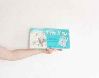 mid century Bride Bingo game . retro bridal shower festivities .sale s a l e