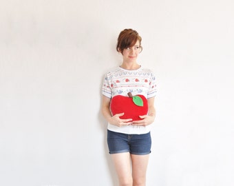 apple core whos your friend shirt . retro fruit print top .medium .sale s a l e