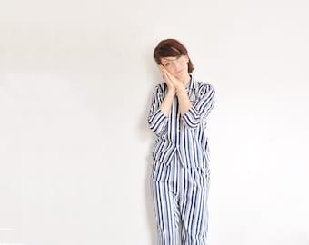 mod striped pajamas . 2 pc matching pj set . handsome retro sleepwear .small .sale