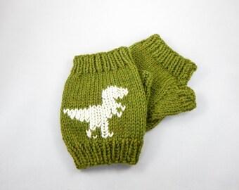 T-Rex Fingerless Wool Mitts