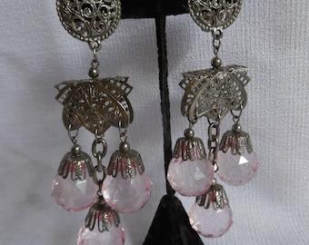 Vintage 1980s Huge Filigree Chandelier Earrings