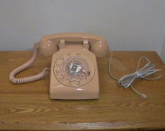 Vintage ITT Beige Desk Rotary Telephone