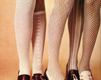 Vintage Mod Tights , 1960s Grey Net Tights , nos
